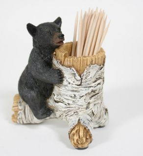 New Black Bear Cub on Birch Toothpick Holder