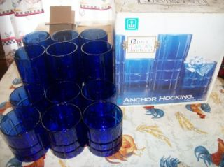 Set 12 1995 Anchor Hocking Tartan Cobalt Blue Glasses