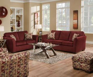 Malibu Wine Sofa Love Seat Living Room Furniture Set Accent Pillows by