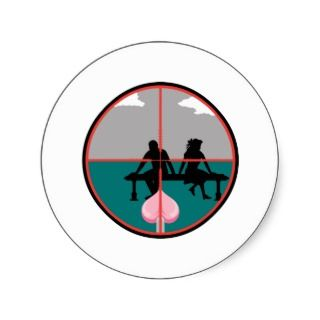 cupids arrow aiming crosshere round stickers