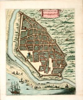 Antique Map Negapatam Nagapattinam India 1744