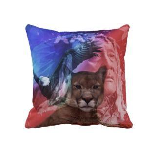 Native American Indian Warrior Throw Pillows