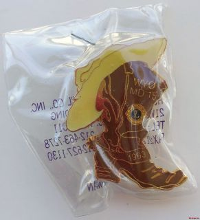 Lions Club Pin WYO MD15 1993 Cowboy Boot Hat Brown Yellow Wyoming