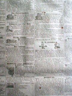 RARE 1844 Little Rock Arkansas Newspaper 165 Years Old