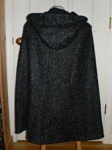 von Furstenberg Black White Lizabeth Wool Cape Jacket Coat $698 NWT M