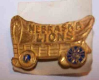 Vintage Lions Club Pin Nebraska Covered Wagon