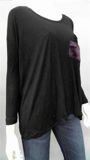 LNA Ladies Womens M Silk Knit Top Black Solid Long Sleeve Shirt Blouse