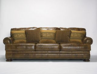 Country Genuine Leather Sofa Couch Living Room Set Furniture
