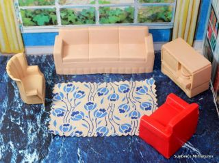 Dollhouse Furniture TRADITIONAL CLASSIC LIVING ROOM SET w/RUG 1/2