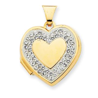 New Beautiful Polished 14k Yellow Gold Heart White Crystal Border 18mm