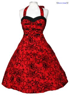New 50s Rockabilly Red Halter Neck Retro Swing Party Vintage Tattoo