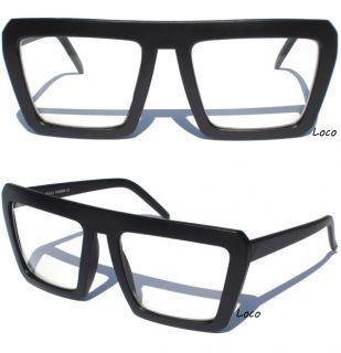 Flat Top Clear Lens Glasses Matte Black Frame Hipster Nerd Retro