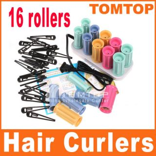 Curlers Rollers Perm Set Ceramic Heater 16 Rollers 24 Hairpins