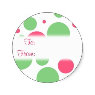 Green and Pink Bubble Dots Gift Tag Sticker