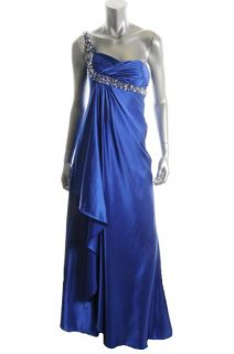 LM Collection by Mignon New Blue Faux Wrap Embellished 1 Shoulder