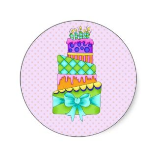Birthday Cake Stickers   with Background
