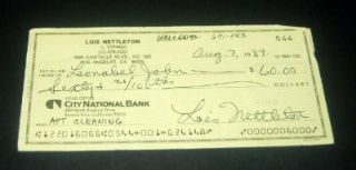 Inventory Clean Out Actress Lois Nettleton Hand Signed Check D 2008