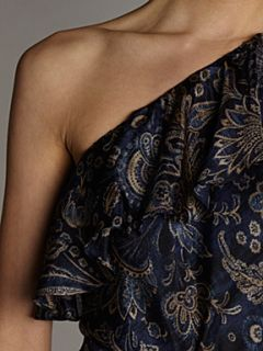 Lauren by Ralph Lauren Kia silk assymetrical dress Indigo