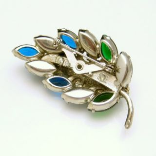 Vintage Rhinestones Brooch Pin Blue Green Margarita Fruit Salad Glass
