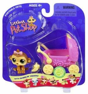 Littlest Pet Shop Lot Monkey w Pram 216 RARE Retired