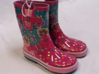 Aqua Stop Big Girls Rain Boots Floral Garden Dots Pink Blue Size 3 New