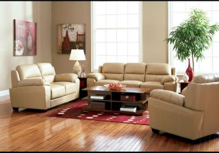 Rich Taupe Finish Bonded Leather Living Room Chair