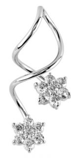 Belly Button Rings Flower CZ Long Spiral Twister Navel 14g