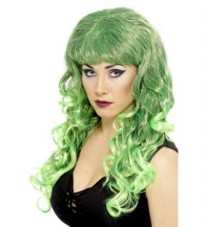 Long Curly Green and Black Siren Costume Wig New
