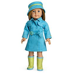 American Girl Doll Clothing Raincoat Boot Hat Charm New
