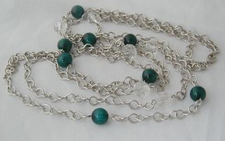 Vintage Long Green Glass Bead 2 Strand Necklace
