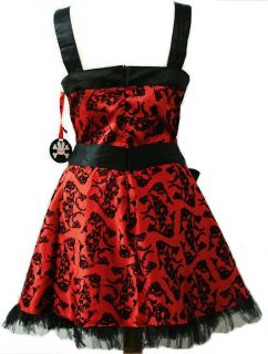 New Hell Bunny Red Tattoo Mini Dress Emo Goth 8 16