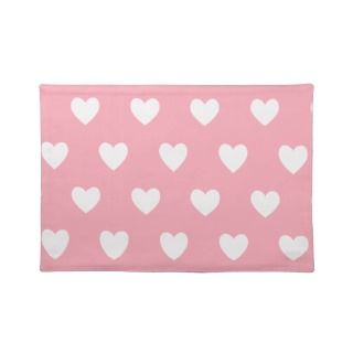 Pretty Pink Polka Heart Wallpaper Design Placemat