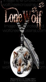 LONE WOLF NECKLACE   24 CHAIN WESTERN ART SPIRIT FEATHER WOLVES GIFT
