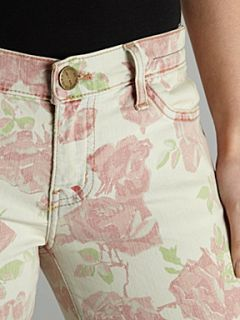 Current Elliott Mid rise skinny stiletto rose print jean Rose