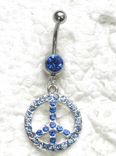 Blue Rhinestone Crystal Peace Sign Navel Belly Button Ring Q16