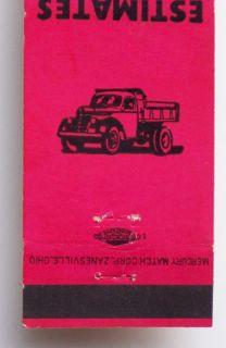 1950s Matchbook Reglers Trucking Dump Truck Lorain Oh