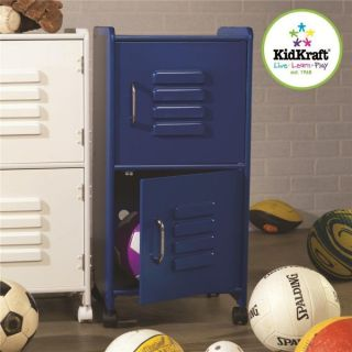 KidKraft Medium Kids Wood Storage Locker w Wheels Blue 14323