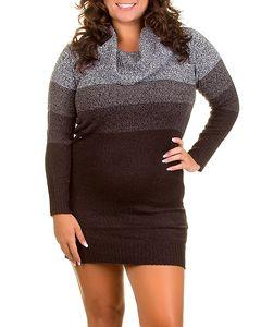 Caren Sport Gray Brown Cowl Neck Knit Sweater Dress Fall Winter XL 2X