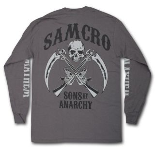 of Anarchy Men of Mayhem Gray Long Sleeve Graphic Tee Shirt