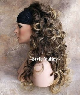 Long Brown Blonde 3 4 Fall Hairpiece Long Curly Half Wig Brown Blond