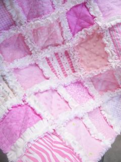 Simply Pink Soft and Sweet Baby Girl Security Rag Quilt w Chenille