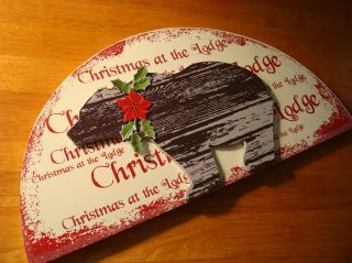 Christmas at The Lodge Bear Wood Sign Rustic Holiday Log Cabin Door