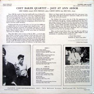 Chet Baker Quartet Jazz at Ann Arbor LP Pacific Jazz PJ 1203 Orig US