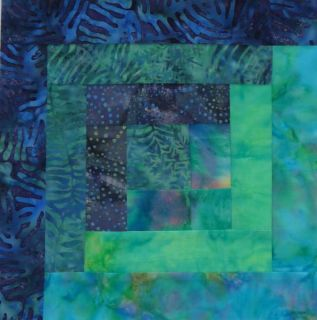 12 Block Batik Fabric Log Cabin Quilt Kit Pacific Nights Pre Cut