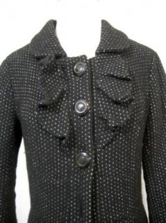 Anthropologie Womens Black Ruffled Wool Swing Peacoat Coat Jacket sz 6