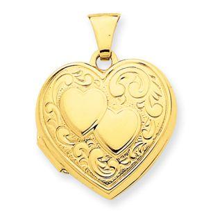 New Beautiful Polished Back 14k Yellow Gold Double Heart Locket