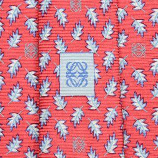 Loewe Tie Botanica Espanola Leave on Dark Pink Silk Necktie
