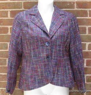 Coldwater Creek Purple Multi 2 Button Jacket Blazer 12 Career
