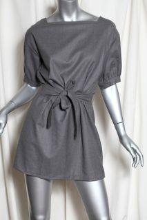 Yves Saint Laurent Chic Grey Wool Button Back Mini Dress Short Sleeve