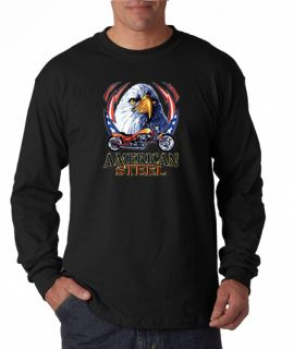 American Steel Motorcycle Eagle Long Sleeve Tee Shirt